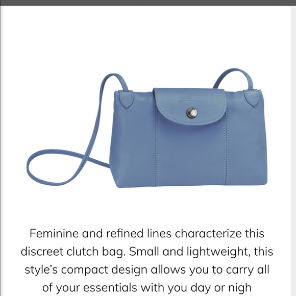 Longchamp Le Pliage Cuir Crossbody Bag - Blue Mist